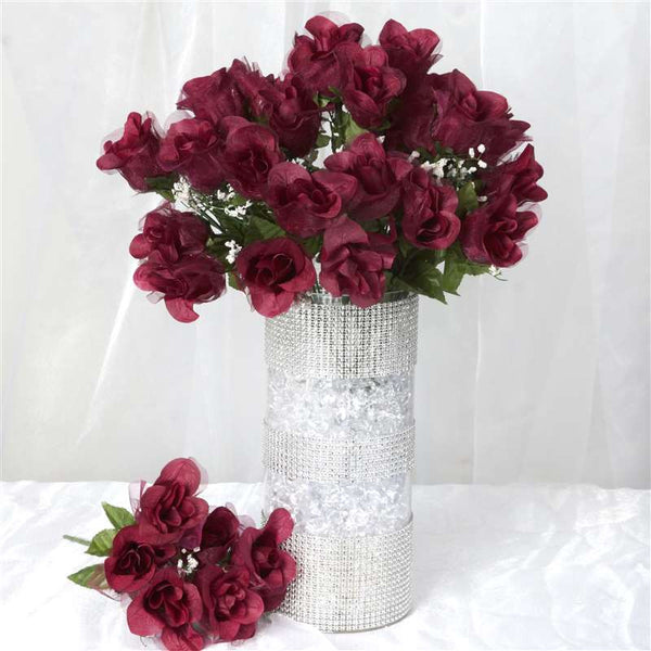 84 Organza Rose Buds - Burgundy