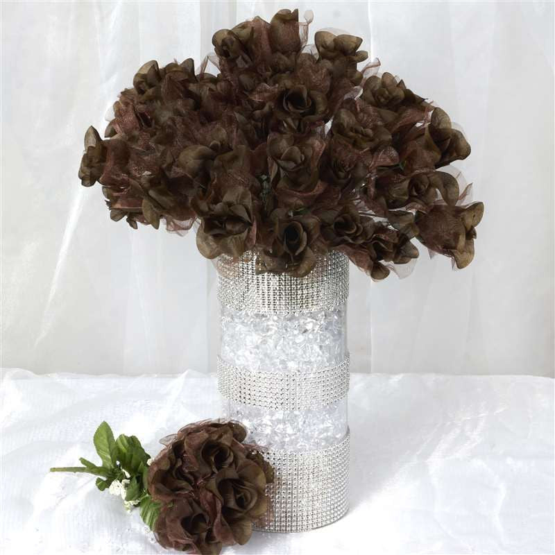 84 Organza Rose Buds - Chocolate
