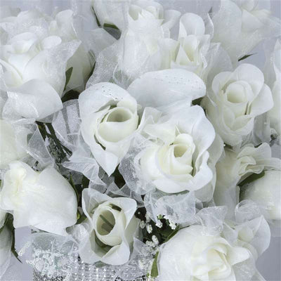 84 Pack Cream Organza Rose Buds For Wedding Flower Bouquet Centerpiece Decor