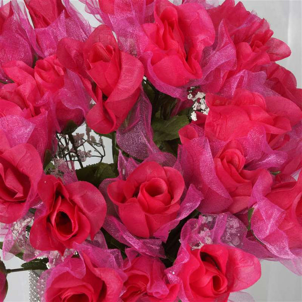 84 Pack Fushia Organza Rose Buds For Wedding Flower Bouquet Centerpiece Decor