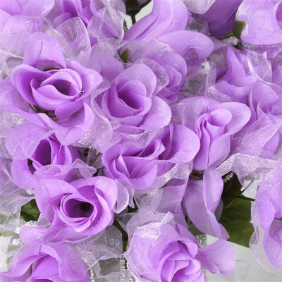 84 Pack Lavender Organza Rose Buds For Wedding Flower Bouquet Centerpiece Decor