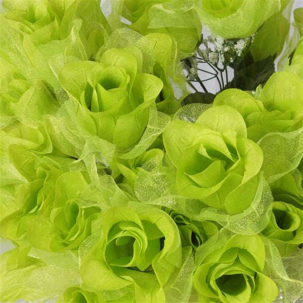 84 Pack Lime Organza Rose Buds For Wedding Flower Bouquet Centerpiece Decor
