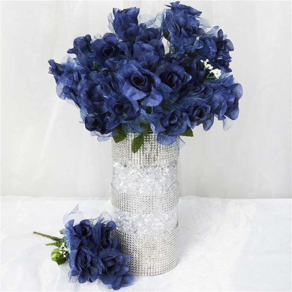 84 Organza Rose Buds - Navy Blue