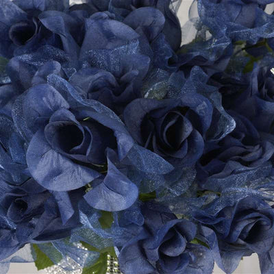 84 Pack Navy Blue Organza Rose Buds For Wedding Flower Bouquet Centerpiece Decor