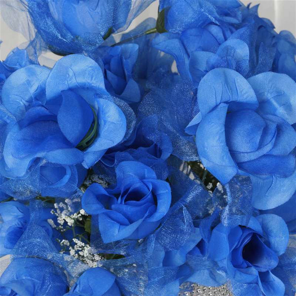 84 Organza Rose Buds - Royal | Silk Flowers Factory
