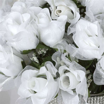 84 Pack White Organza Rose Buds For Wedding Flower Bouquet Centerpiece Decor