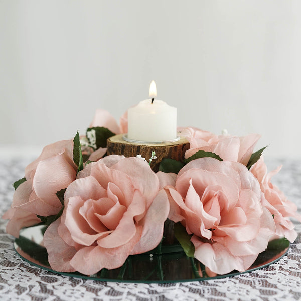 Silk Rose Candle Ring Artificial Flowers - Blush - 4 pcs