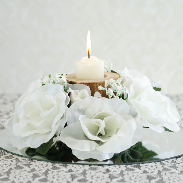 Silk Rose Candle Ring Artificial Flowers - Ivory - 4 pcs