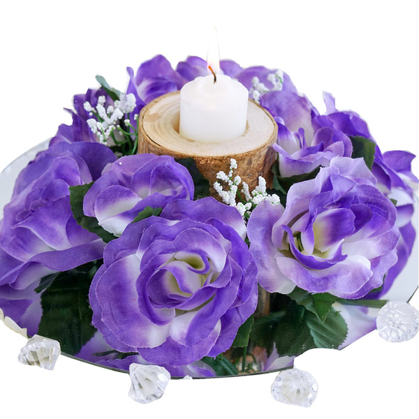 Silk Rose Candle Ring Artificial Flowers - Purple - 4 pcs