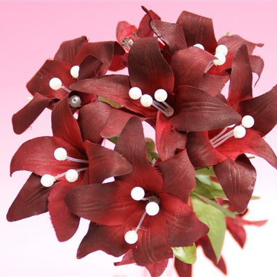 70 tiger lily burgundy silk flowers factory 70 artificial silk tiger lily wedding flower bouquet vase centerpiece decor burgundy mightylinksfo