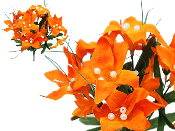 Tiger Lily Bouquet Artificial Silk Flowers - Orange
