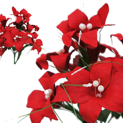 Tiger Lily Bouquet Artificial Silk Flowers - Red