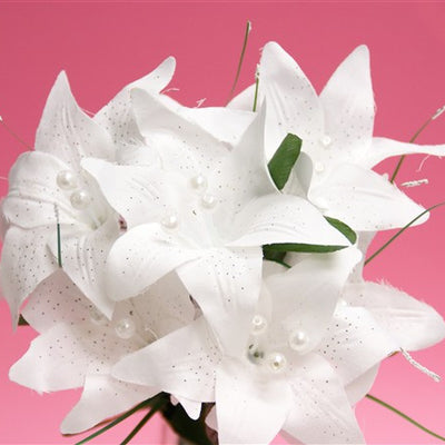 Tiger Lily Bouquet Artificial Silk Flowers - White