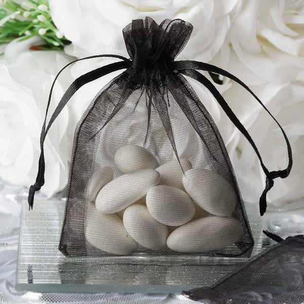"3""x4"" Black Organza Jewellery Wedding Birthday Party Favor Gift Drawstring Pouches Bags - 10/pk"