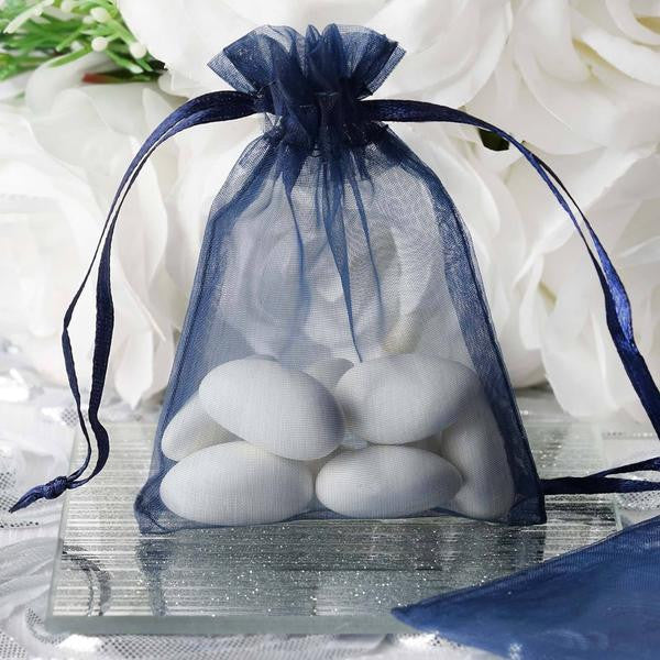"3""x4"" Navy Organza Jewellery Wedding Birthday Party Favor Gift Drawstring Pouches Bags - 10/pk"