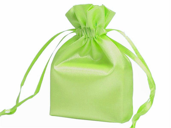 5x7 Apple Green Satin Bags-dz/pk