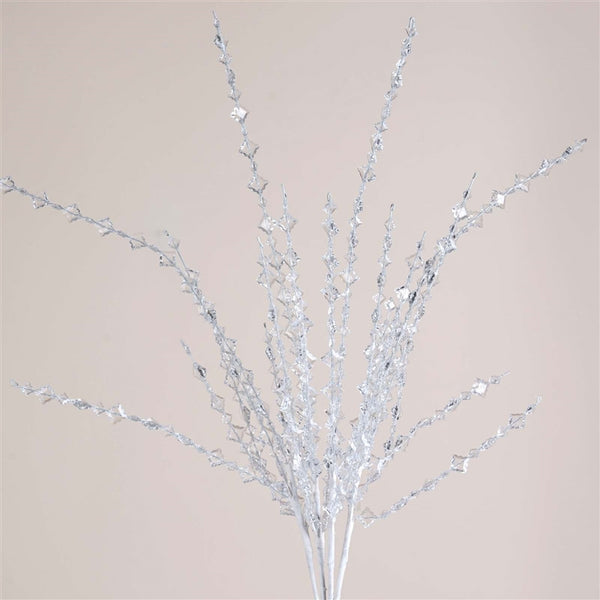 6 Clear Crystallite Crystal Spray Stems Wedding Vase Table Craft DIY Decoration