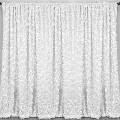 20ft x 10ft Grandiose Rosette Wedding Party Event Photography Backdrops - White