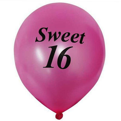 "12"" Metallic Latex Balloons-Sweet 16-25/pk"