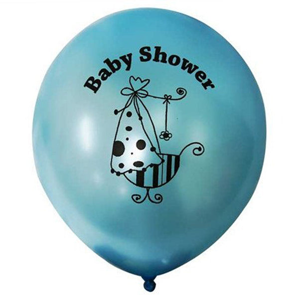 "12"" Blue Metallic Latex Baby Shower Balloons Party Decoration - 25/pk"