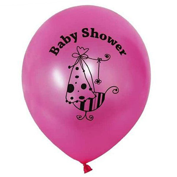 "12"" Pink Metallic Latex Baby Shower Balloons Party Decoration - 25/pk"