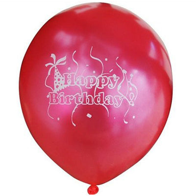"12"" Metallic Red Latex Balloons-Happy Birthday-25/pk"