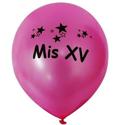 "12"" Metallic Latex Balloons-Quinceanera-25/pk"