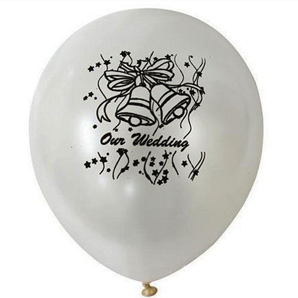 "12"" Metallic White Latex Balloons-Our Wedding-25/pk"