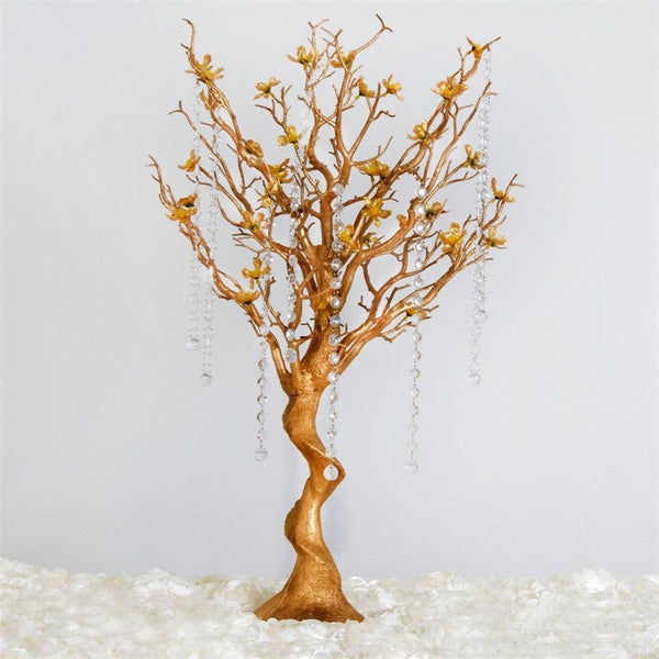"30"" Vogue Manzanita Tree with Flower Tipped Branches - Metallic Gold"