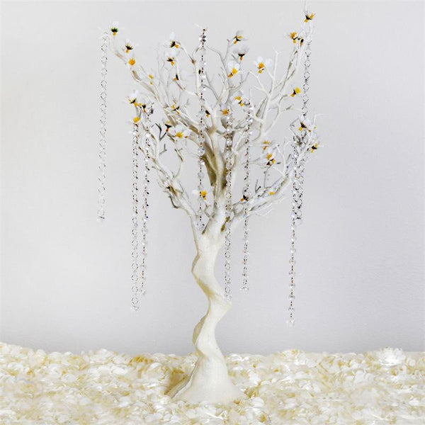 "30"" Vogue Glittered Manzanita Tree with Flower Tipped Branches - White"