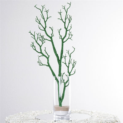 "32"" Vogue Manzanita Centerpiece Branches - Glittered Turquoise 4/pk"