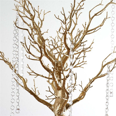 "30"" Glittered Manzanita Gold Centerpiece Tree For Wedding Party Event Table Top Decoration+8pcs Acrylic Chains"
