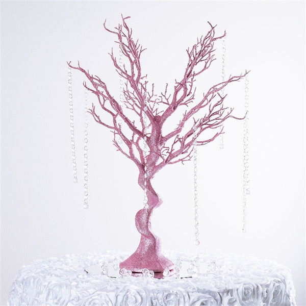 "30"" Glittered Vogue Manzanita Centerpiece Tree - Pink"