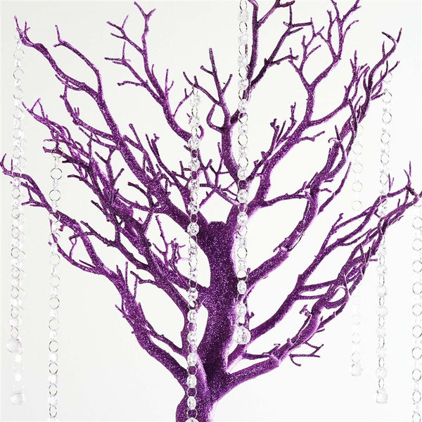 "30"" Glittered Manzanita Purple Centerpiece Tree For Wedding Party Event Table Top Decoration+8pcs Acrylic Chains"