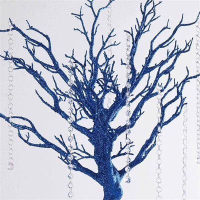 "30"" Glittered Manzanita Royal Blue Centerpiece For Wedding Party Event Table Top Decoration Tree + 8pcs Acrylic Chains"