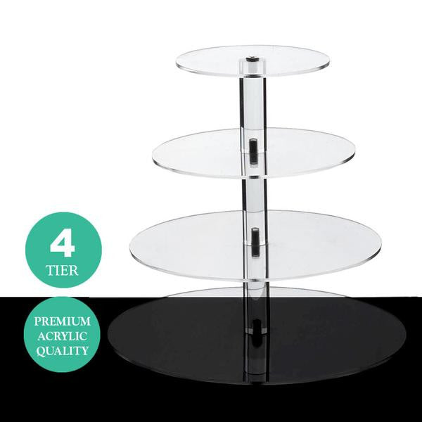 4 Tier Round Heavy Duty Acrylic Glass Cupcake Dessert Stand For Birthday Wedding Party