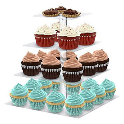 4 Tier Square Heavy Duty Acrylic Glass Cupcake Dessert Stand For Birthday  Wedding Party