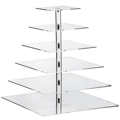 6 Tier Square Heavy Duty Acrylic Glass Cupcake Dessert Stand For Birthday  Wedding Party