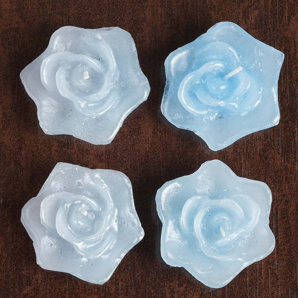 4 PCS Blue Rose Floating Candles Wedding Birthday Party Centerpiece Decor