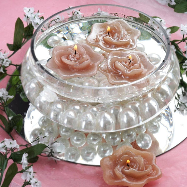 4 PCS Dusty Rose Floating Candles Wedding Birthday Party Centerpiece Decor