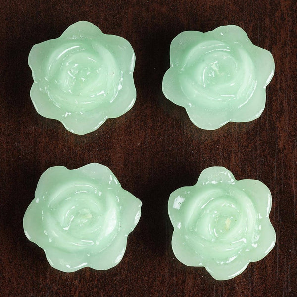 4 PCS Light Green Rose Floating Candles Wedding Birthday Party Centerpiece Decor