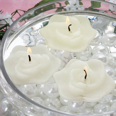 4 PCS Ivory Rose Floating Candles Wedding Birthday Party Centerpiece Decor