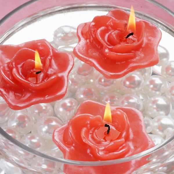 4 PCS Red Rose Floating Candles Wedding Birthday Party Centerpiece Decor
