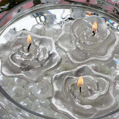 4 PCS Silver Rose Floating Candles Wedding Birthday Party Centerpiece Decor