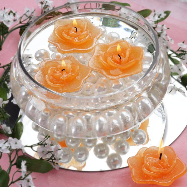 4 PCS Tango Rose Floating Candles Wedding Birthday Party Centerpiece Decor