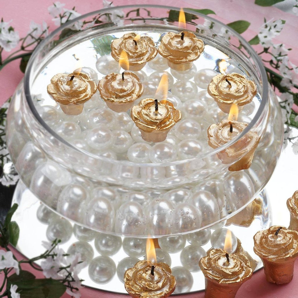 Gold Rose Mini Floating Candles Wedding Birthday Party Centerpiece ...