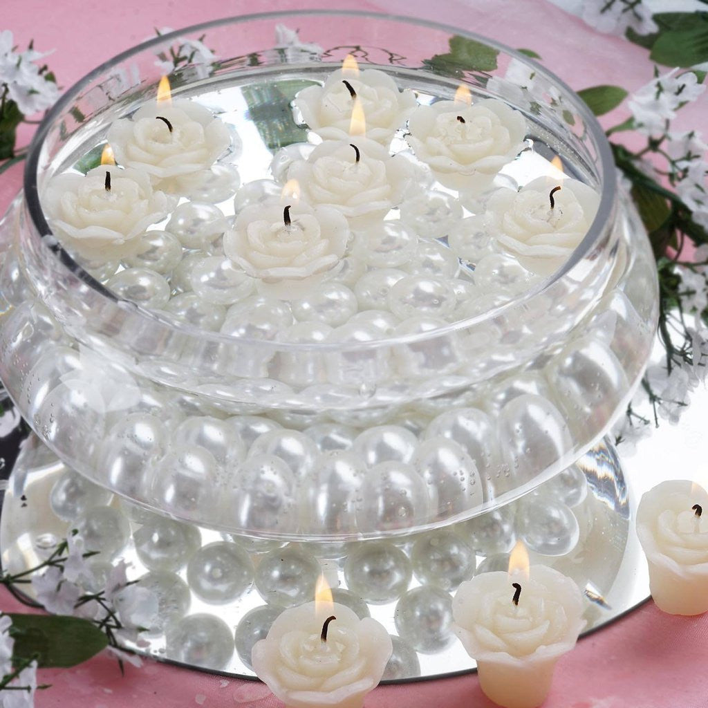 Ivory Rose Mini Floating Candles Wedding Birthday Party Centerpiece ...
