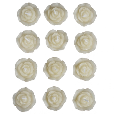 12 PCS Ivory Rose Mini Floating Candles Wedding Birthday Party Centerpiece Decor