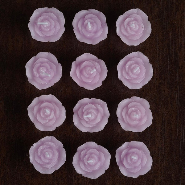 12 PCS Lavender Rose Mini Floating Candles Wedding Birthday Party Centerpiece Decor