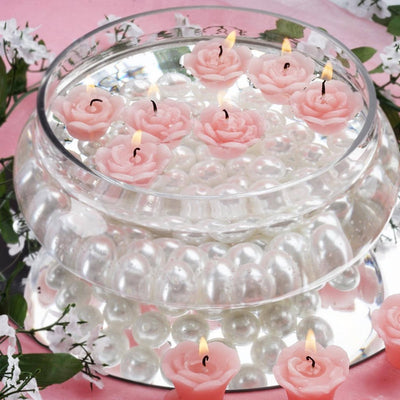 Pink Rose Mini Floating Candles Wedding Birthday Party Centerpiece Decor - 12/pk